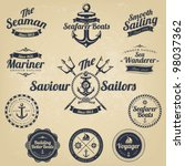 set of vintage retro nautical... | Shutterstock .eps vector #98037362