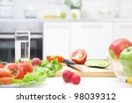 healthy foods are on the table... | Shutterstock . vector #98039312