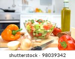 healthy foods are on the table... | Shutterstock . vector #98039342