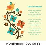 cute floral card. vector... | Shutterstock .eps vector #98043656