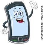 Smart Phone Cartoon With Thumb...