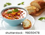 bowl of minestrone soup with... | Shutterstock . vector #98050478