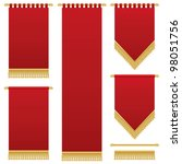 deep red wall hangings with gold tassel fringing, isolated on white