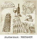 hand drawn rome set | Shutterstock .eps vector #98056409