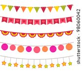 vector bunting and garland set. ... | Shutterstock .eps vector #98060042