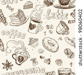 seamless pattern with coffee...   Shutterstock .eps vector #98060402
