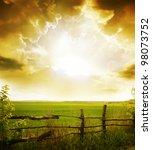 sunset on field at summer | Shutterstock . vector #98073752