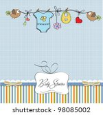Stock vector baby boy shower card 98085002