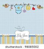 Stock vector baby boy shower card 98085002