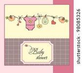 baby girl shower card | Shutterstock .eps vector #98085326