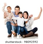 happy family smiling with arms... | Shutterstock . vector #98092592