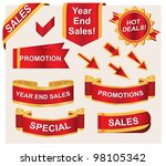 business icons and ribbons... | Shutterstock .eps vector #98105342
