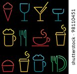 colorful beverage and food set | Shutterstock .eps vector #98110451