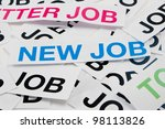 """Job offer. New job concept. Printed paper notes with the word """"Job"""" in black ink, and above them, printed note with words """"New Job"""". - stock photo"""