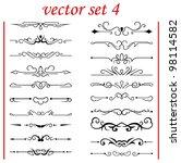 vector set 4  calligraphic... | Shutterstock .eps vector #98114582