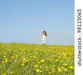 Little Girl Running On A Meado...