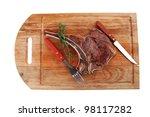 meat food   roast rib on wooden ... | Shutterstock . vector #98117282