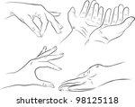 hand gestures set on white... | Shutterstock .eps vector #98125118
