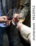 group of friends tasting wine   Shutterstock . vector #98135912