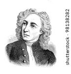 "Small photo of Alexander Pope - English poet, one of the great writers of British classicism. Engraving by Shyubler . Published in magazine ""Niva"", publishing house A.F. Marx, St. Petersburg, Russia, 1888"
