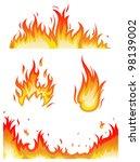 vector set  fire flames  ... | Shutterstock .eps vector #98139002