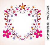 floral heart frame - stock photo