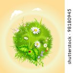Cartoon Blossoming Globe With ...