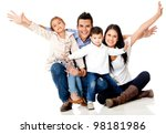 happy family smiling with arms... | Shutterstock . vector #98181986