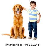 Stock photo boy wih a beautiful dog isolated over a white background 98182145