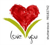 red painted heart with... | Shutterstock .eps vector #98182742