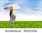 sexy asian woman carrying... | Shutterstock . vector #98201036
