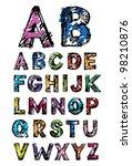 sketch alphabet | Shutterstock .eps vector #98210876