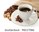 hot coffee  coffee beans and... | Shutterstock . vector #98217086