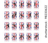 Vector collection of different sport icons over a United Kingdom flag and reflected over a white surface - stock vector