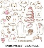 wedding doodles sketchy vector...