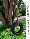 Car Tire Used As A Swing On A...