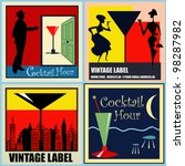 A Set Of Vector Retro Cocktail...