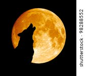 wolf howling at the moon  in... | Shutterstock . vector #98288552