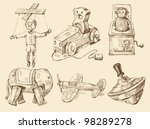 hand drawn vintage toys... | Shutterstock .eps vector #98289278