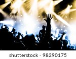 crowd cheering and hands raised ...   Shutterstock . vector #98290175