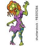 cartoon sexy female zombie.... | Shutterstock .eps vector #98305286