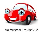 Funny Red Car. Vector...