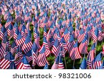 Stock photo american flags on display for memorial day or july th 98321006