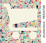 social media icons texture with ... | Shutterstock . vector #98324768