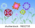 colorful stylized springtime... | Shutterstock . vector #9832735