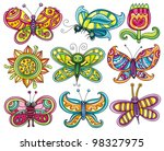 butterfly icon set. beautiful ... | Shutterstock .eps vector #98327975