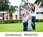 happy family standing outdoors... | Shutterstock . vector #98332352