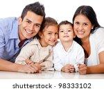 beautiful family portrait lying ...   Shutterstock . vector #98333102