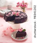 Chocolate Cake With Sugar Rose...