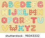 vintage quilt alphabet. set... | Shutterstock .eps vector #98343332
